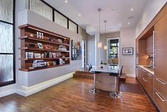Beautiful Kitchen Design...love the built in book shelves