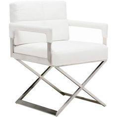 Add contemporary flair to your dining room or living room seating group with this director-style arm chair, featuring stainless steel legs and faux leather u...