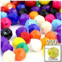 100-pcPlastic Round Opaque Faceted Beads 12mm Multi Mix