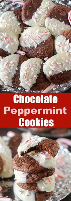 White Chocolate Dipped Chocolate Peppermint Cookies - A fun and festive holiday cookie!