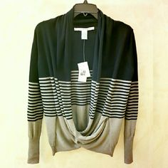 Max Studio Striped Cross Front Wrap Sweater ✨NWT✨ Retails for $98++tax  ⏩This sweater is impossibly chic & effortlessly sexy with its unique criss cross silhouette  ⏩Knitted from fine cotton & rayon yarns, it's super soft & comfy ⏩Featuring loose low draped wrapped open front, long sleeve, pullover style, shawl collar ⏩Colorblock construction with striped accent ⏩A Cami can be worn underneath to add layer & extra coverage Max Studio Tops