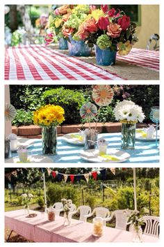 Decor ideas: burlap runner, flowers in jars or tin cans, bunting, paper rosettes, gingham table cloth.