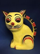 Hand Painted ERPHILA Czechoslovakia Art Deco Cat Pitcher #920 DITMAR URBACH