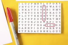 DIY thank you note. word search thank you note. diy stationery.