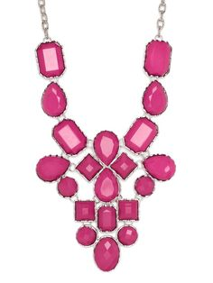 This chic necklace flaunts a spectacularly ornate pattern of chunky gemstones in hot magenta. It doesn't get any sexier and more stylish than that.