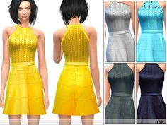 The Sims Resource: Fit & Flare Halter Dress by Ekinege • Sims 4 Downloads