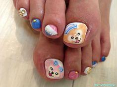 ブルー・ホワイト・ピンクのトリコロールカラーにミッキーのフットネイル The foot nail of Mickey tricolor color of Blue White Pink
