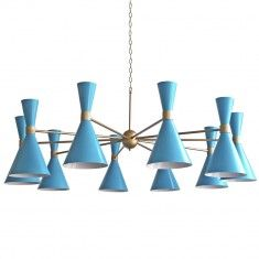 1960s Style 10 Pendant Chandelier - Available in 3 Colors