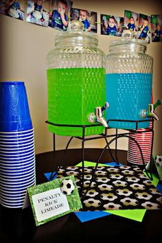 Soccer Party Punch - what a fantastic idea for the refreshments at the party.