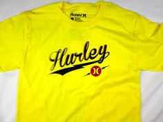 Hurley surf premium fit yellow short sleeve tee shirt men's size SMALL #Hurley #GraphicTee