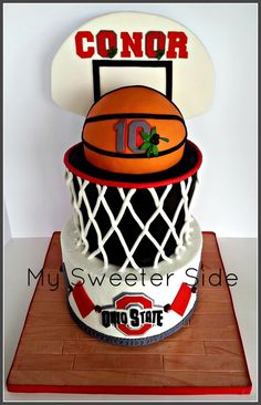 The bottom tier is covered in buttercream with fondant decorations.  The top tier and basketball are covered in fondant.