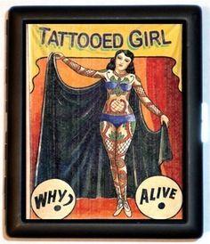tattooed ladies sideshow | Tattooed Lady Tattoo Sideshow Woman Banner Freak Human Curiosities ...
