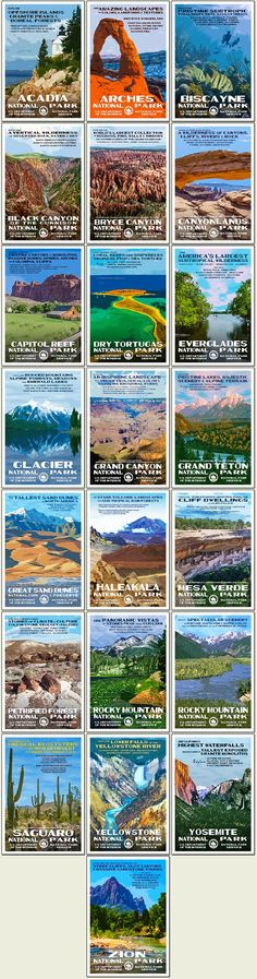 """Title: """"2015 Postcard Collection""""  Artist: Robert B. Decker  Size: 4"""" x 6""""  Quantity: 22  Paper: """"Conservation"""" 100% recycled, domestically produced.  Inks: Soy based.    Acadia National Park Arches National Park Biscayne National Park Black Canyon of the Gunnison National Park Bryce Canyon National Park Canyonlands National Park Capitol Reef National Park Dry Tortugas National Park Everglades National Park Glacier National Park Grand Canyon National Park Grand Teton Natio..."""