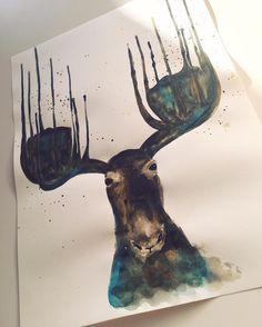 Sieh dir dieses Instagram-Foto von @annikaangeliqua an • Gefällt 63 Mal Art by annikaangeliqua moose aquarelle watercolor