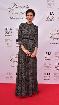 Picture of Caitriona Balfe at the Irish Film and Televison Awards, held Cait was nominated for 2 awards, Best Actress in Drama and Rising Star. Claire Fraser, Jamie And Claire, Outlander Tv Series, Outlander 3, Starz Series, Caitriona Balfe, Diana Gabaldon, Gal Gadot, Red Carpet Fashion