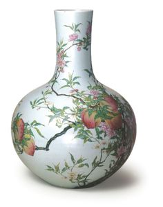 Famille-rose 'eight peach' tianqiuping, Qing dynasty, seal mark and period of Yongzheng, Collection of Palace Museum, Beijing. After: The Complete Collection of Treasures of the Palace Museum: Porcelains with Cloisonne Enamel Decoration and Famille-rose Decoration, Hong Kong, 1999, pl. 45