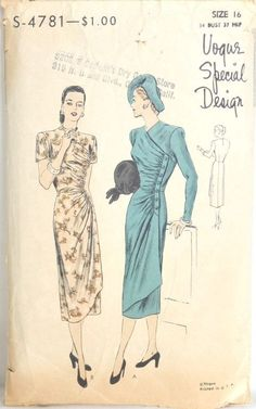 VSD S-4781 Dress1947 unprinted precut complete Instr Missing env worn Sz16/34/37 Gathers on both bodice & skirt are held by a button trimmed band at side front.The neckline is collarless & sleeves are in 2 lengths. sld 20.39+au7.5 7bds 7/11/15