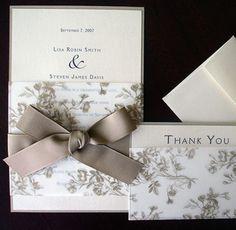 Wedding Invitations – Gold Leaf and Cream Toile Wedding Invitation, bow & flowers, wedding accessories – a unique product by ALaModeBride via en.dawanda.com