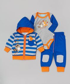 Take a look at this Blue & Orange Fox Raccoon Stripe Hoodie Set on zulily today!
