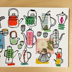 Teapots with collage bits from my prints. #tea #teapot #collage #teapots #gouache #paint