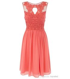 Discount Coral Bridesmaid Dresses 2016 Chiffon Lace Short Wedding Party Dress for Girls