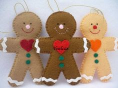 Gingerbread, Felt Christmas Ornament - Set of 3