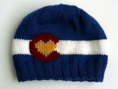 Knit Colorado Flag Beanie With Heart by ShortKnits on Etsy Knit Crochet, Crochet Hats, Crochet Ideas, Mountain Hat, Yarn For Sale, Handmade Art, Handmade Items, Craft Fairs, Knitting Projects