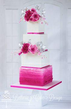 bellaria cake design pink ruffles, lace, flowers wedding cake