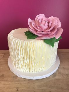 Vertical Buttercream Ruffle Peony Cake