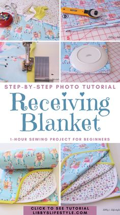 Baby Sewing Tutorials, Baby Sewing Projects, Sewing Projects For Beginners, Sewing For Kids, Sewing Basics, Sewing Ideas, Recieving Blankets, Baby Receiving Blankets, Baby Clothes Patterns