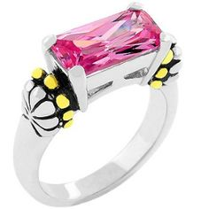Christine's Pink Ice Ring    Price:  US$29.99    14k Gold and White Gold Rhodium Bonded Antique Style with Black Enamel and Milli grain Finish on Shoulders, Emerald Cut Pink Ice CZ Ring