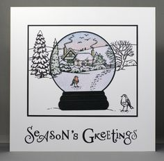 Jayne Nestorenko's Winter Scenes stamps by Claritystamp. Snow globe covered in Versamark ink then heat embossed with Wow! Clear Sparkle Embossing Glitter.