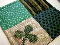 cross stitch mug rugs   Green Shamrock Cross Stitch Mug Rug/ Pot Holder Mini Quilt with bold ...