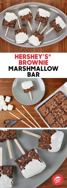 Make these simple and sweet HERSHEY'S® Brownie Bars for a fun family dessert this season. Get a HERSHEY'S® Chocolate Brownie delivered from Pizza Hut, dip the squares in the melted marshmallow and then add a popsicle stick. Quick, delicious and great for kids!