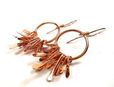 Copper Hoop Metal Fringe Earrings by SnazzyTrinkets on Etsy