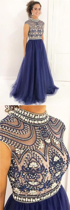 Stylish A Line High Neck Cap Sleeves Beaded Tulle Prom Dress,Formal Evening Dress #darkblue #beaded #highneck #evening #formal #gown #okdresses