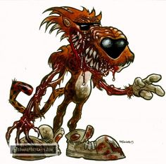 Zombie Chester Cheetah : Corporate Mascots of the Living Dead - Zombie Art by Rob Sacchetto Zombie Cartoon, Zombie Disney, Zombie Art, Dead Zombie, Horror Pictures, Creepy Pictures, Evil Clown Tattoos, Chester Cheetah, Zombie Monster