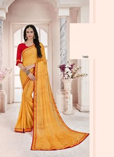 508627d90362 classic stlye yellow printed ethnic wear chiffon saree with unstitched  blouse #fashion #clothing #
