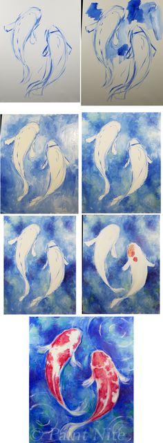Koi Dance Process - Easy Brushes: Big flat, medium round Colors: Blue, White, Red, Yellow