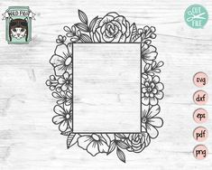 Original, Digital Artwork - Personal and Commercial Use by WildPilotLLC Square Tattoo, Framed Tattoo, Monogram Frame, Wedding Templates, Flower Frame, Flower Boarders, Svg Cuts, Doodle Art, Textured Background