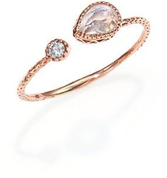 Jacquie Aiche Labradorite, Diamond & 14K Rose Gold Teardrop Waif Wrap Ring