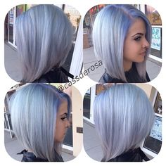 #ShareIG Kelsey's hair is always the best hair  @niz__khalifa . we did her 3 inch long roots  out so me pravana lavender pastels on her head and gave her a keratin treatment , she had the most hair EVER . make sure to check the salon page for her before picture @salon202 @salon202 #salon202 #hairbycassderosa #longbob #grayhair #pravana #pravanavivids #pravanapastel