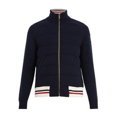 Moncler Gamme Bleu Striped-hem waffle-knit wool bomber jacket ($1,875) ❤ liked on Polyvore featuring men's fashion, men's clothing, men's outerwear, men's jackets, navy, mens navy blue jacket, mens striped jacket, men's wool bomber jacket, mens wool outerwear and mens leather sleeve jacket