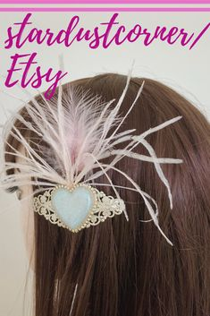 Bridal hairpin, pink ostrich feathers, white shimmering hart on a silver French barrette Bridal Hair Pins, Ostrich Feathers, Hairpin, Wedding Hair Accessories, Barrette, Wedding Hairstyles, Handmade Jewelry, French, Hair Styles