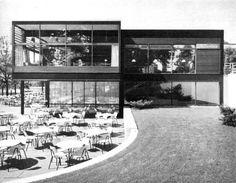 """Restaurant """"Buschmühle"""" (1958-59) in Dortmund, Germany, by Schlote/Lehmann/Groth"""