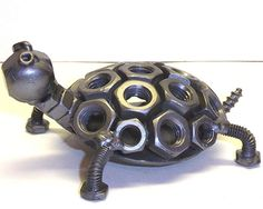 Hand Crafted Recycled Metal Turtle Art Sculpture Figurine - waff life photos and shared Welding Art Projects, Metal Projects, Metal Crafts, Diy Projects, Blacksmith Projects, Metal Sculpture Artists, Steel Sculpture, Sculpture Ideas, Art Sculptures