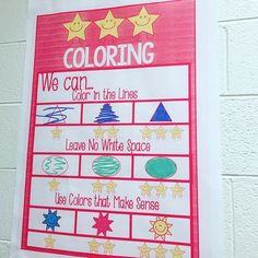 We've been working on 3 Star Coloring! This anchor chart gives them a visual to self-assess their own coloring. Kindergarten Classroom Management, Kindergarten Anchor Charts, Kindergarten Literacy, Classroom Organization, Preschool Classroom, Classroom Ideas, Teaching Resources, Teaching Ideas, Teaching Art