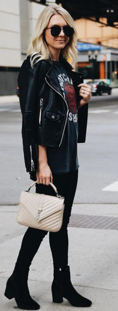 #fall #trending #outfits | All Black + Graphic Sweater