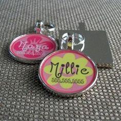 Pink Girly Flower Custom Silver Pet ID Tag