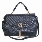 Versace 1:1 Grade 2012 Collection Vanitas Embossed Calfskin Leather Satchel Bag - Black